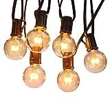 Qedertek Weihnachten Lichterkette Strombetrieben Lichterkette 7.62M/25FT G40 Hängend Lichterkette Glühbirne Warmweiß Globus Lichterkette für Weihnachtsbaum Deko (25 Birnen mit 3 Ersatzbirnen)