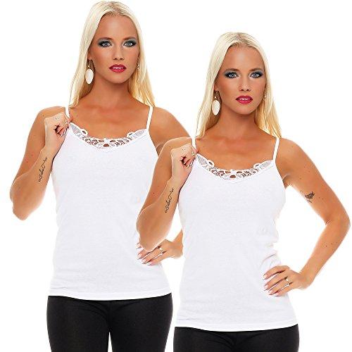 2er Pack Damen Unterwäsche mit Spitze (Unterhemd, Träger-Top, Shirt) Nr. 421 Weiß-Weiß