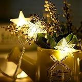 Luci a forma di stella del LED, 33 ft 100 LED Batterie alimentate a batteria fredda Luci decorative impermeabili all'aperto per la festa nuziale di Natale di nuovo anno (bianco caldo)