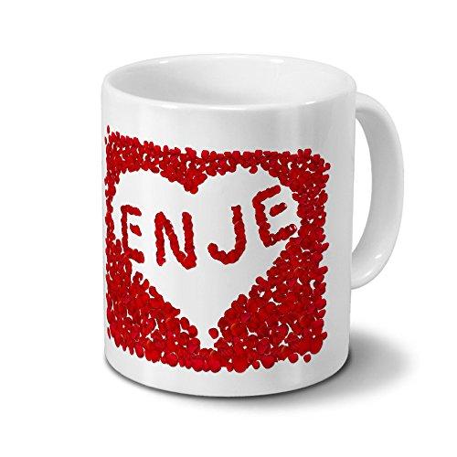 Tasse mit Namen Enje - Motiv Rosenherz - Namenstasse, Kaffeebecher, Mug, Becher, Kaffeetasse - Farbe Weiß