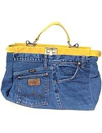 Jeans Hosen Handtasche echt Leder Damentasche aus original jeans Hosen gelb