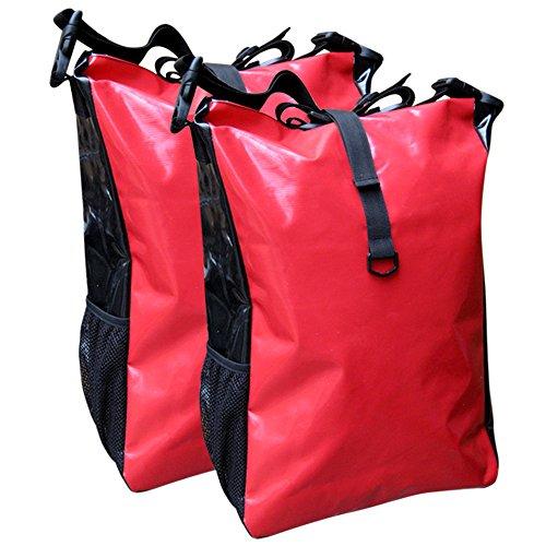 Fahrradtasche für den Gepäckträger aus LKW-Plane 2 Stück mit Farbauswahl rot/schwarz