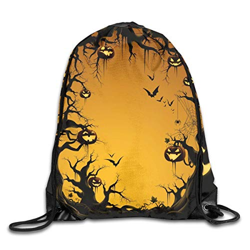 ZHIZIQIU Drawstring Bags Bulk Happy Halloween Drawstring Backpack Bag Shoulder Bags Bag for Adult Size: 4133cm (Happy Miami Halloween In)