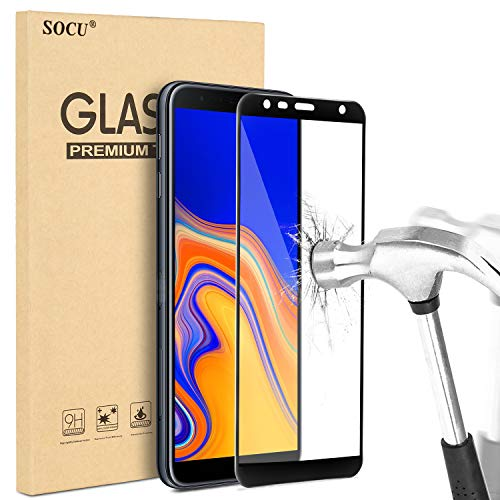 SOCU Samsung Galaxy J4 Plus/J6 Plus Film protection d'écran,9H Dureté anti-huile, anti-traces de doigts, 99% Film de verre trempé en transparent pour Samsung Galaxy J4