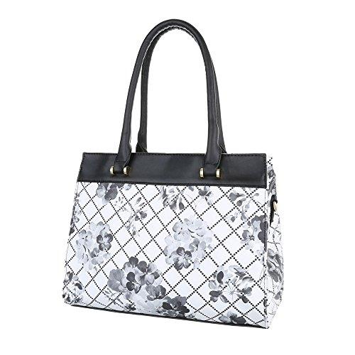Damen Schultertasche Handtasche Tragetasche Shopper Schwarz Blau Grau Rot Weiß Weiß