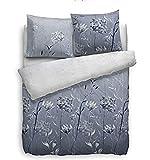 Heckett & Lane Bettwäsche Biber/Flanell I Farbe Blau I Größe 135x200 cm 80x80 cm I Design Blumen/Blüten