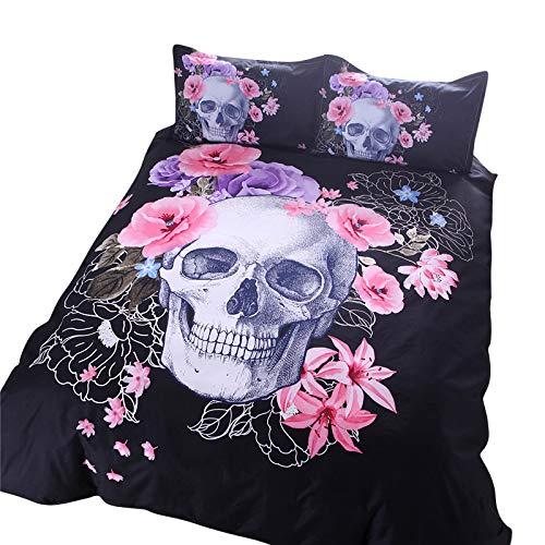 Missmaom copripiumino stile gotico, biancheria da letto stampata con teschio dolce e raffinato,come immagine,150x210cm