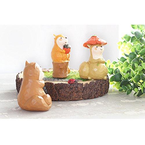MagiDeal 3 Pezzi Varie Scoiattolo Mini Resina Miniatura per Casa Giardino Decorazione Casa delle Bambole