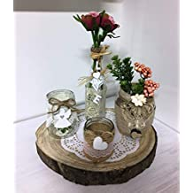 La favola encantado® – Centro Shabby Chic Country Porción madera portavelas Boccacci Tealight introvabile Handmade