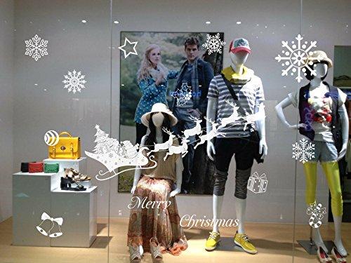 Decorazioni natalizie - Adesivi smontabili della parete - Per finestra di negozio Home Classroom Natale Neve Babbo Natale Showcase Store Adesivo da parete di vetro decorativo di Capodanno (64 x 50 cm), 10 stili disponibili , style 2