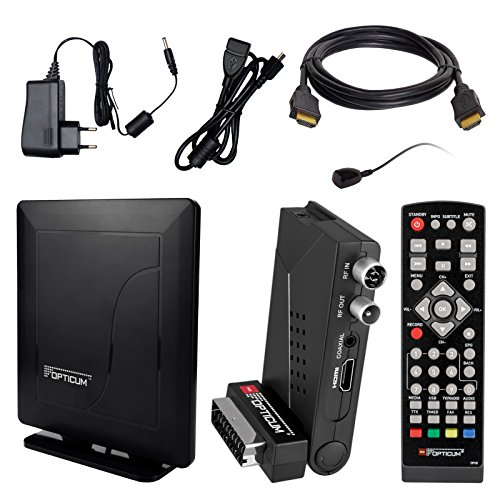 HB Digital DVB-T/T2 Set: Opticum HD AX Lion Air 2 HEVC DVB-T/T2 Receiver + Opticum HD550 DVB-T/T2, FM, DAB Aktive Antenne (Full HD, HEVC/H.265, HDTV, HDMI, SCART, USB 2.0 DVBT DVBT2 DVB-T2)