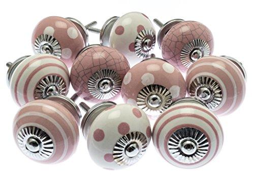 Mango Tree gemischtes Set von 10x Keramik-Schrankknäufen (MG-730) in altrosa und weißen Punkten und Streifen und Craquelé-Keramik, TM-registriertes Produkt -