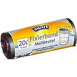 Swirl 4er Pack Müllbeutel mit Fixierband, 20 Liter, 15 Stück pro Rolle, Grau