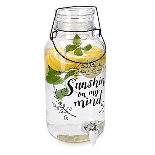 Navaris Getränkespender 5,5 Liter aus Glas - mit Zapfhahn Deckel und Bügelverschluss - Glasbehälter für warme und kalte Getränke - Wasserspender - Mit Metall-krug Deckel