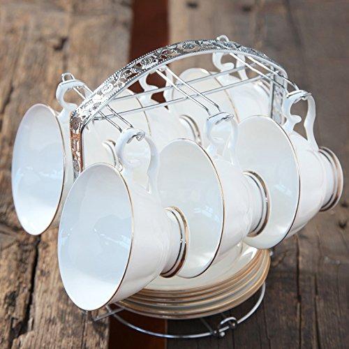 Set de café / Set de thé en céramique créative personnalisée / Set de thé de fleur / 6 Set de disque de 6 tasses (6 couleurs en option) ( couleur : F )