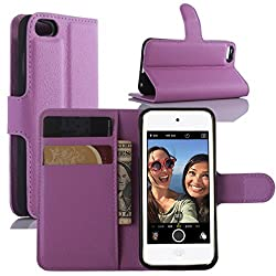 Ipod Touch 5th 6th Gen Case, Ipod Touch 5 6 Case, Hualubro [All Around Protection] Pu Leather Wallet Flip Phone Protective Case Cover For Apple Ipod Touch 5th 6th Generation (Purple)