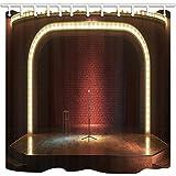 Rrfwq Musical Theater Duschvorhänge für Badezimmer Backsteinmauer wie Bühne mit Holzboden Polyester Stoff Wasserdicht Bad Vorhang Duschvorhang Haken enthalten 70.8X70.8in