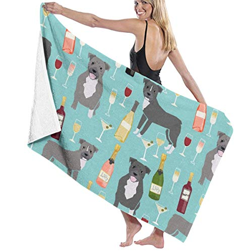 Pitbull Grey Coat Wine Champagne Cocktails Dog Breed Light Blue Beach Towels for Women Large Microfibre Beach Blanket Towel for Kids 32 X 52 Inch -