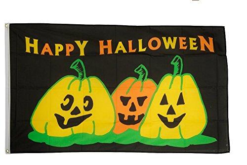 Fahne / Flagge Happy Halloween 3 Kürbisse + gratis Sticker, Flaggenfritze®