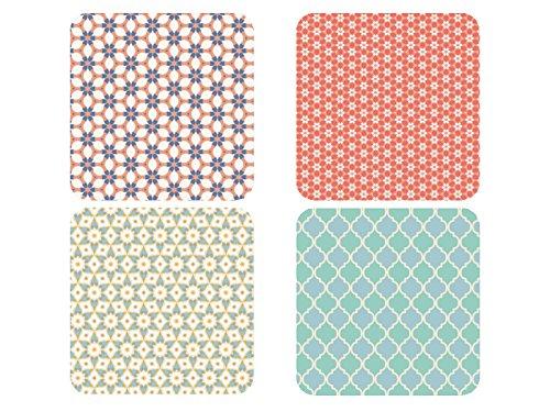 rsetzer LEISURE Muster Kacheln Glasuntersetzer aus Holz Deko ()
