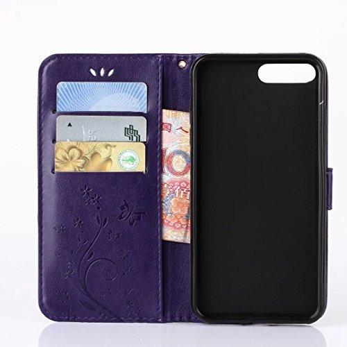 iPhone 7Plus Case, Augus tcoco Stand Wallet Purse Credit Card ID Holders Magnetic Étui folio souple TPU Bumper en cuir PU ultra slim fit Cover For iPhone 7Plus Violet foncé