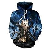 TOPDCLSN Meow Sterne Menschen heißen 3D-Sweatshirt Männer/Frauen mit Kapuze Hoodies drucken Cat Warrior Gap Sweatshirt Trainingsanzug, JH 0038, S