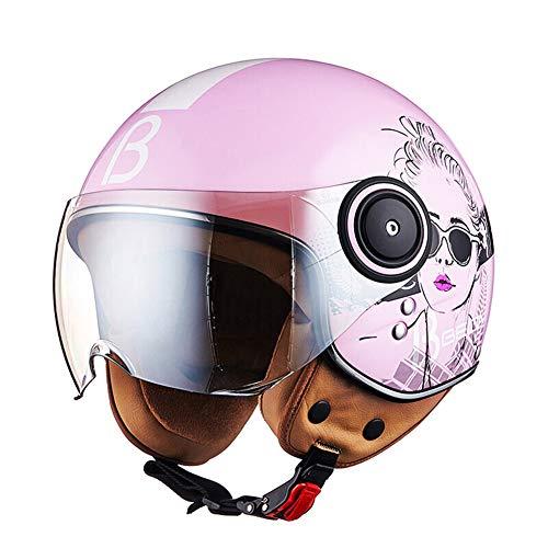 LYJNBB Halber Motorradhelm für Damen, offenes Gesicht Vintage Harley Helme mit Brille Schnellverschluss für Cruiser Scooter ECE Approved weiß,Pink,L