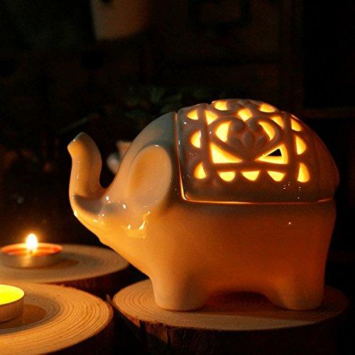 Global Brands Online Artesanías Elefante de Cerã¡Mica Titular de la Vela de aromaterapia Hueco Creativa