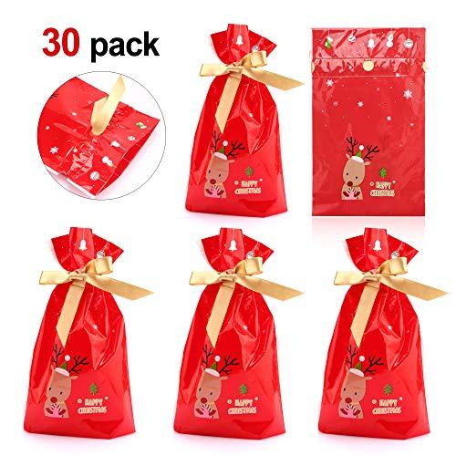 Howaf 30 pezzi natale sacchetti con coulisse caramelle sacchetti confetti alimentari borsa di regalo sacchetto bustine biscotto per natale bomboniere, regali, matrimonio, compleanno