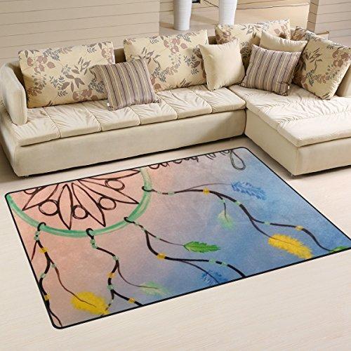 BENNIGIRY Alfombra de área Antideslizante para decoración del hogar, atrapasueños, para salón, Dormitorio, alfombras, 31 x 20 Pulgadas, poliéster, 60 x 39 Inch