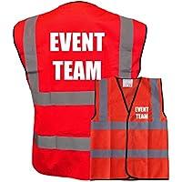 Printed Red Hi Vis Vest EVENT TEAM Waistcoat Safety Vest Plus a Brook Hi Vis UK Discount Code for your next order