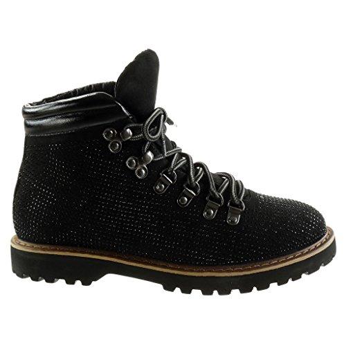Angkorly - damen Schuhe Stiefeletten - Biker - Strass - gesteppt schuhe - Fertig Steppnähte Blockabsatz 2.5 CM Schwarz