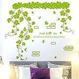 Fresco verde le pareti decorate con carta di rattan posters e accogliente camera da letto auto-adesivi 92*79cm parete