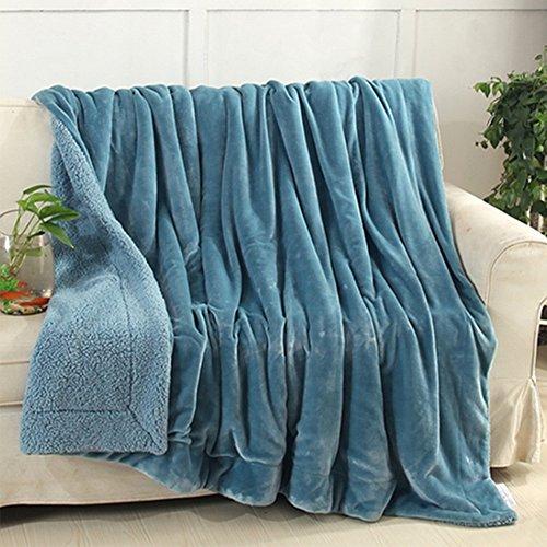 Luxus Flanell & Sherpa Decke Decke Reversible warme Fleece Decke Wärmer thermische weiche flauschige gemütliche Plüsch flauschige einfarbig für Couch Bett Sofa Lounge - Türkis (Thermische Werfen)