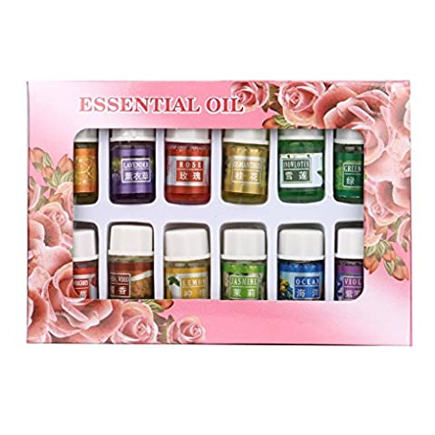 Essential Oils,Webla 12 Flavors 3ML/Bottle Pure Aromatherapy Essential Oil Set Skin Care Bath Massage Natural Oil For Stress & Anxiety