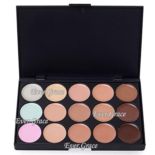 ICYCHEER Professional Correcteur de teint Palette de 15 couleurs Anti-cernes Palette de maquillage pour le visage avec pinceau de maquillage ovale (15 couleurs) (01)