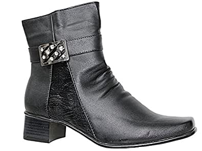 Cushion Walk Womens Side Zip Fashion Boots - Black - Denise (Black/Diamante, UK 3/EU 36)