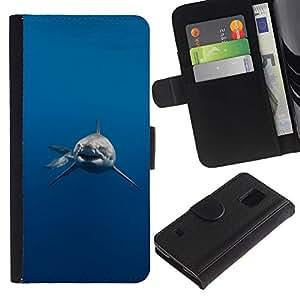 Paccase / Flip Leder Brieftasche Hülle Kartenhalter Schutz Etui für - Shark Jaws Danger Diver Diving - Samsung Galaxy S5 V SM-G900
