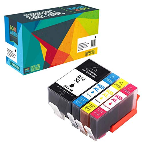 Do it Wiser Cartuchos de Tinta Compatibles con HP 934XL 935XL OfficeJet Pro 6830 Ink 6230 6815 6810 6812 6220 6835 6820 | 4 Pack
