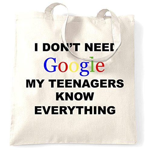 Non ho bisogno di Google I miei ragazzi sanno tutto della novità internet Sacchetto Di Tote White