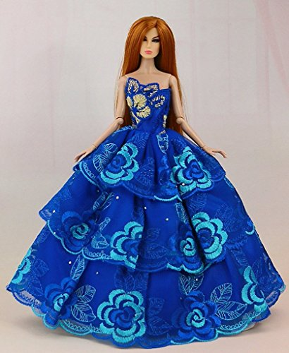 Elegant Beautiful Handmade Party Doll Dress Weeding Gown Compatible With Barbie Doll (Blue)  available at amazon for Rs.325