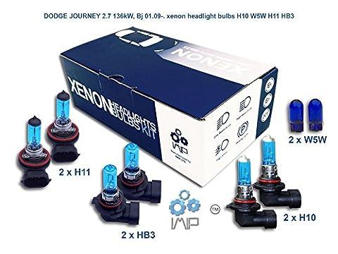 DODGE JOURNEY 2.7 136kW, Bj 01.09-. xenon headlight bulbs H10 W5W H11 HB3