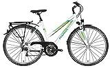 Damen Fahrrad 28 Zoll - Pegasus Piazza - 21 Gänge Kettenschaltung Trapez Trekkingrad - Weiss