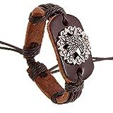 LZHMLZHMCircle Leder-Armband-Armband Für Unisex Hand Gesponnene Armband Justierbare Armbänder Tribal Geflochtenen Seil Adler Braun Farbe
