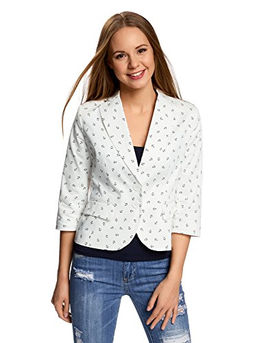 oodji Collection Damen Taillierter Blazer aus Baumwolle, Weiß, DE 38 / EU 40 / M (Drei-knopf-blazer Baumwolle Mit)