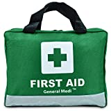 210 Piece Premium First Aid Kit - Night Reflective Bag - Includes Eyewash, Bandage and Emergency Blanket for Travel, Home, Office, Car, Camping, Workplace (Green)