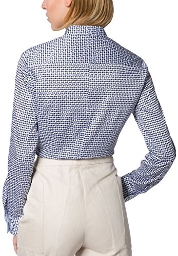 f3179a4d1384a8 eterna Damen Bluse Comfort Fit Langarm Blau/Bunt Bedruckt mit Hemd-Kragen  Mehrfarbig (
