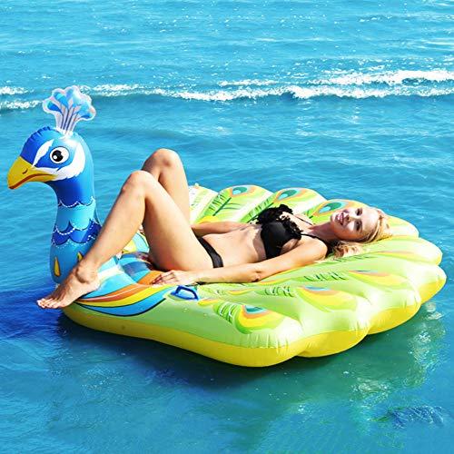 Riesige aufblasbare Pfau Pool Float, Fun Beach Floaties, Schwimmen Party Spielzeug, Pool Island, Sommer Pool Floß Lounge für Erwachsene & Kinder