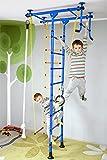 Klettergerüst FitTop M1 für Kinderzimmer Sprossenwand Kletterwand Turnwand mit Klimmzugstange inkl. Strickleiter, Turnringe, Tau, Trapez, verschiedene Farben und Größen, TÜV geprüft Blau Raumhöhe 220 - 270 cm