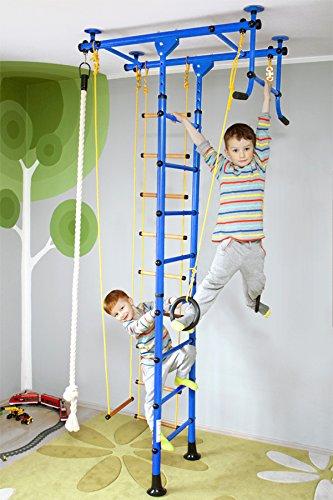 Klettergerüst FitTop M1 für Kinderzimmer Sprossenwand Kletterwand Turnwand mit Klimmzugstange inkl. Strickleiter, Turnringe, Tau, Trapez, verschiedene Farben und Größen, TÜV geprüft Blau Raumhöhe 240 - 290 cm